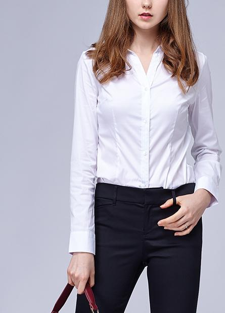 V領上班族長袖襯衫