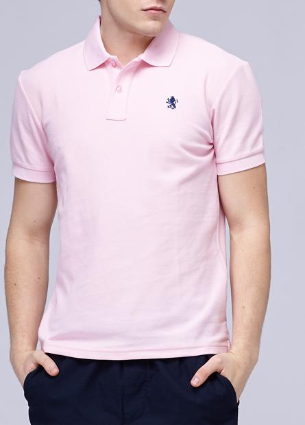 素色繡獅POLO衫