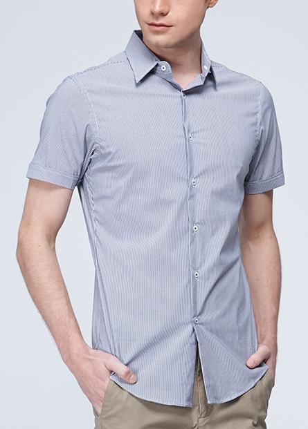 修身素色條紋短袖襯衫