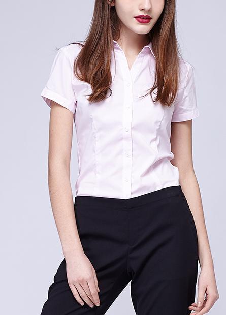 條紋素色V領上班族襯衫