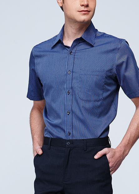 純棉素色條紋防皺襯衫