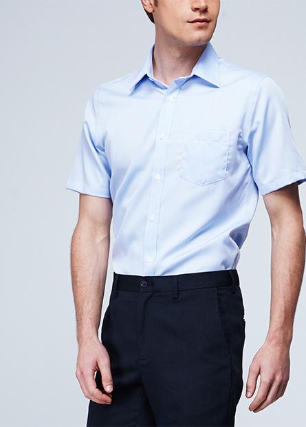 純棉修身單貼袋防皺襯衫