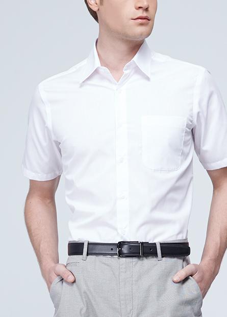 條紋單貼袋防皺襯衫