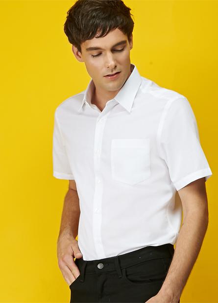 修身單貼袋條紋防皺襯衫