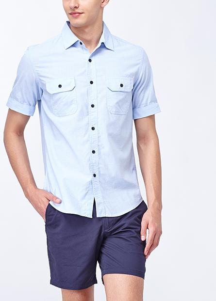 反摺雙口袋短袖襯衫