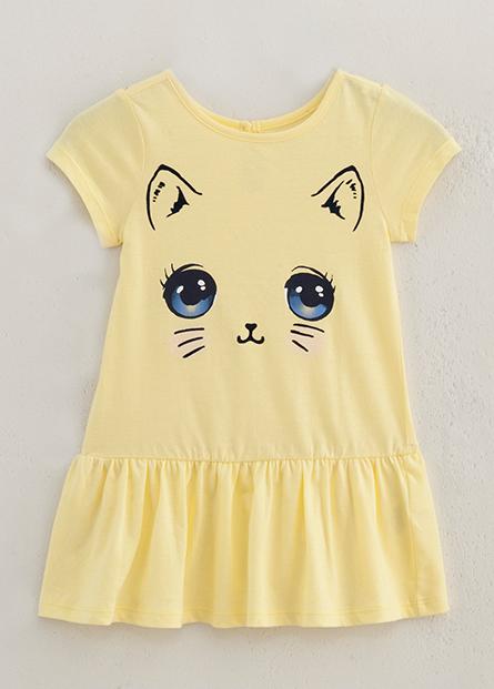 女嬰兒貓咪臉洋裝