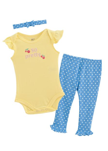 女嬰兒包臀衣褲髮帶組