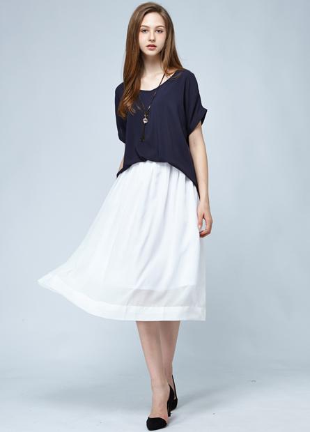 素色打摺長圓裙