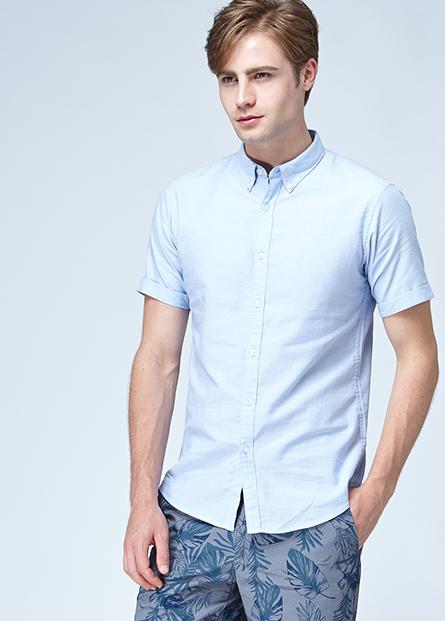 鈕釦領短袖襯衫