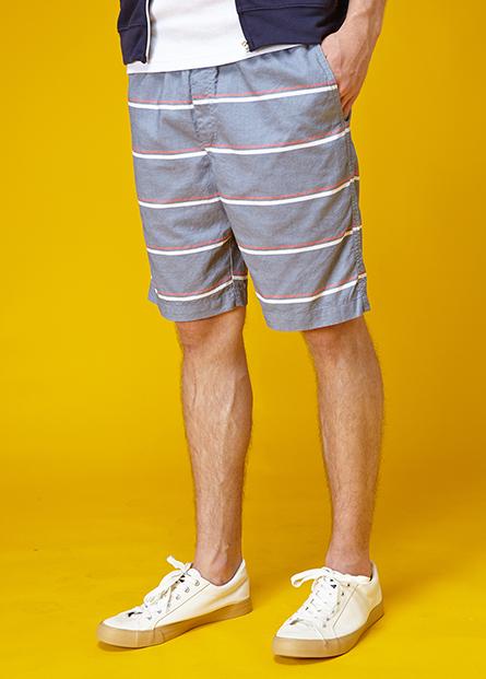 內抽繩素色印花短褲