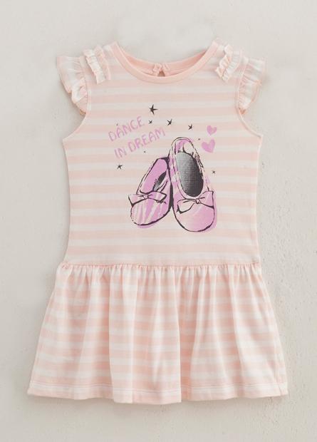 女嬰兒芭蕾舞鞋荷葉肩洋裝