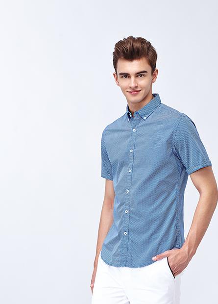 棉質修身鈕釦領襯衫
