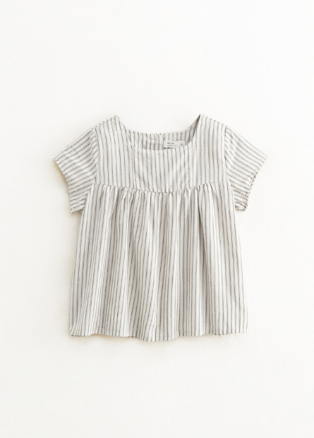 女童條紋拼接寬鬆上衣