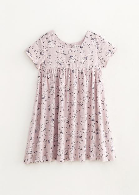 女童碎花拼接寬鬆洋裝
