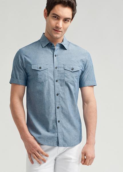 雙口袋棉質短袖襯衫