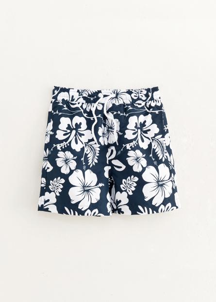男童素色印花海灘短褲