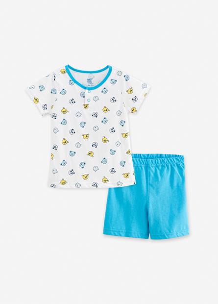 男嬰兒印花上衣短褲套組