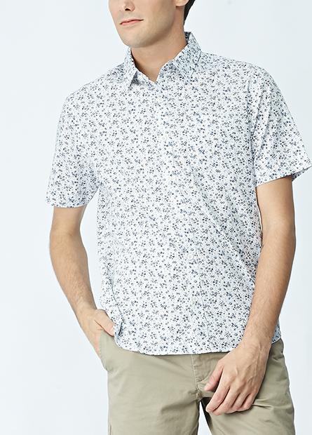 水洗鈕釦領五分袖襯衫