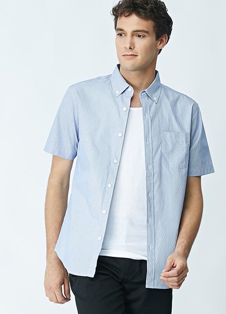 棉質水洗鈕釦領襯衫