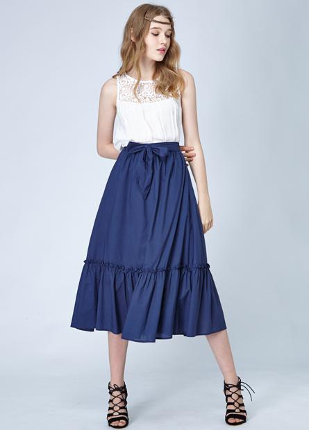 素色腰綁帶剪接長裙