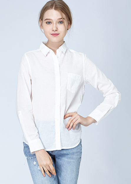 單釦捲袖貼袋襯衫
