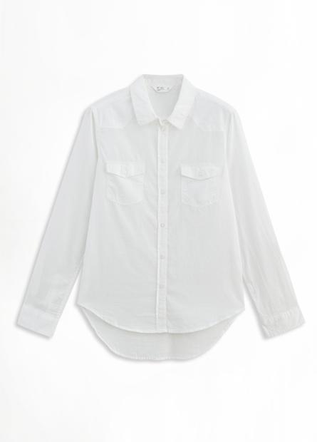棉質單釦捲袖雙口袋襯衫