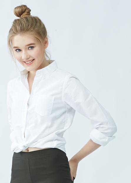 鈕釦領單口袋長袖襯衫