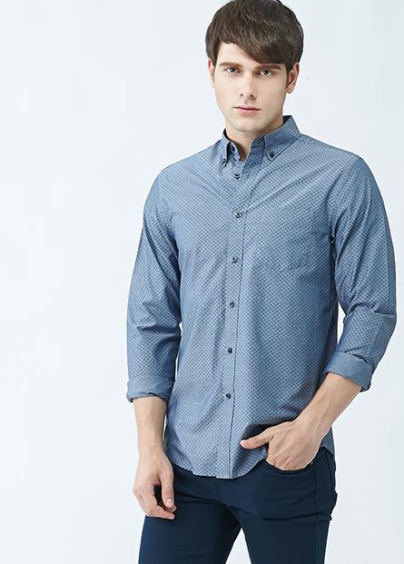 鈕釦領長袖襯衫