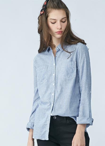 棉質雙口袋單釦捲袖襯衫