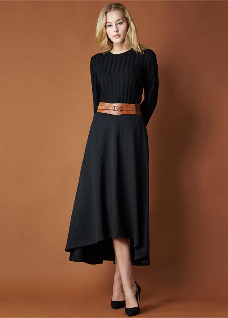 素色羅馬布長裙