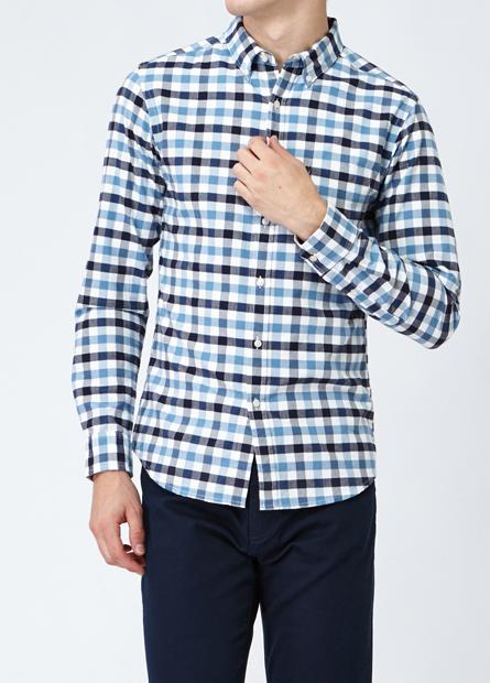 修身鈕釦領單口袋襯衫
