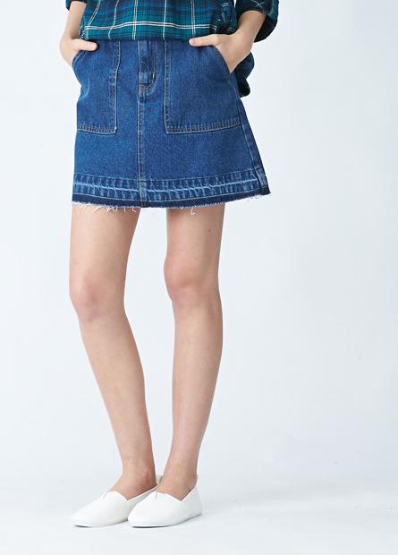 鬚邊雙口袋A字牛仔短裙