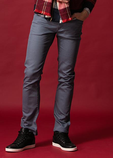 修身直筒牛仔色褲