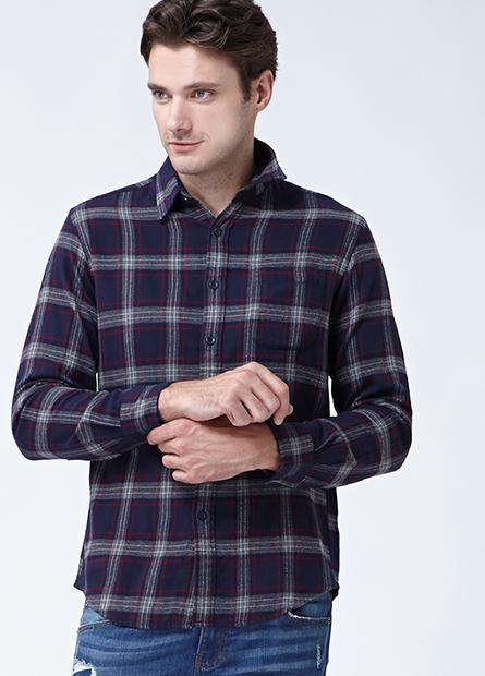 法蘭絨單口袋長袖襯衫