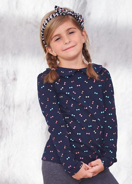 女童素色印花領領片上衣