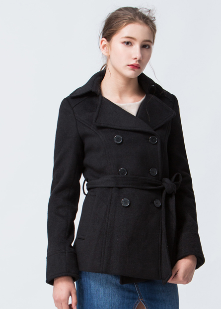 素色雙排釦毛料外套