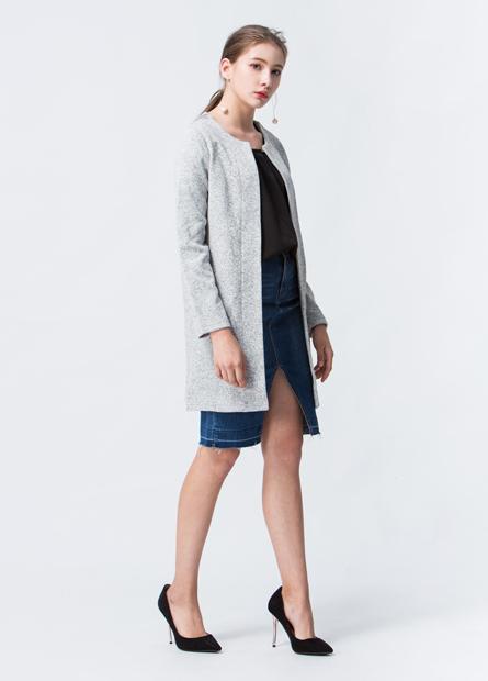 混色內刷毛披掛毛衣外套
