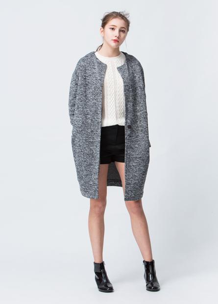 內刷毛混色披掛毛衣外套