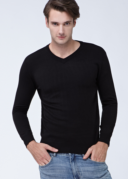 素色條紋V領薄毛衣