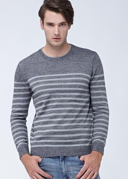 素色條紋雙層圓領薄毛衣