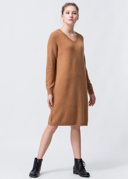 混紡美麗諾羊毛V領毛衣洋裝