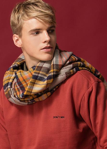 馬海毛格紋圍巾