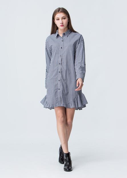 變化荷葉下襬拼接格紋洋裝