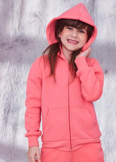 女童素色燙字內刷毛連帽外套