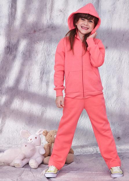 女童素色內刷毛抽繩長褲