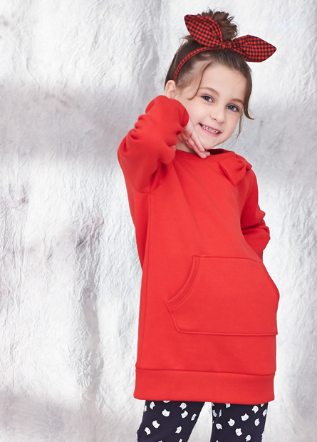 女童領口蝴蝶結內刷毛上衣