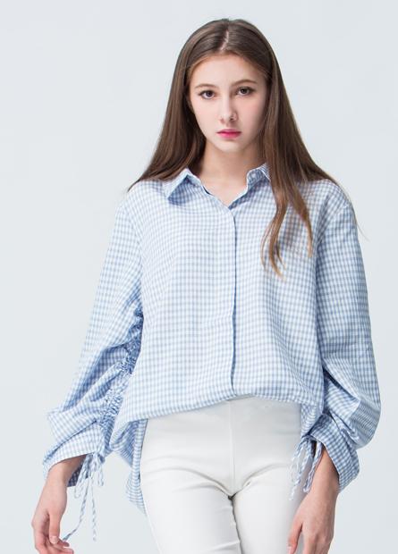 袖綁繩格紋寬襯衫