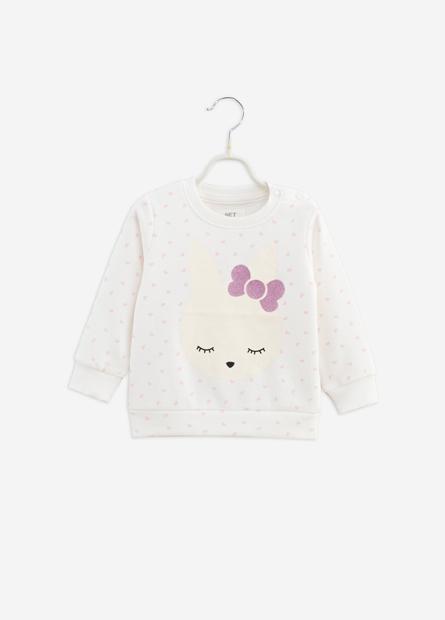 女嬰兔子印花內刷毛T