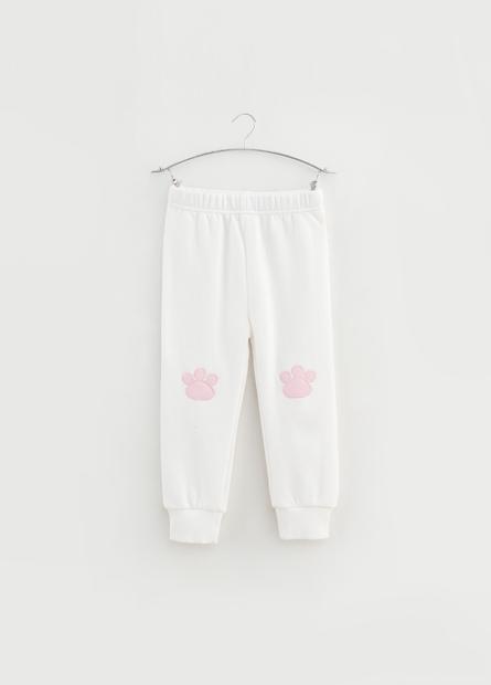 女嬰動物腳印繡布內刷毛長褲