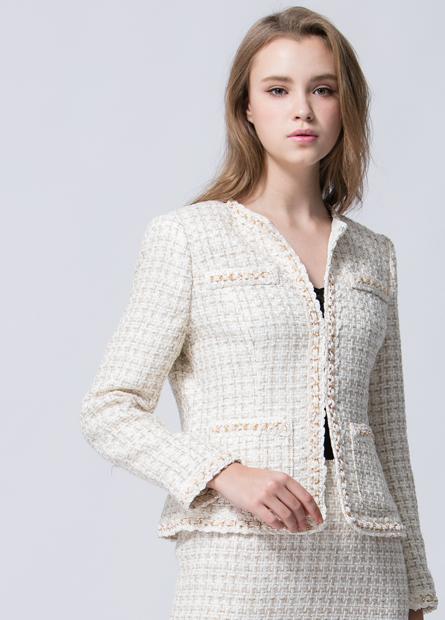 鍊條毛緞帶邊金蔥混色外套